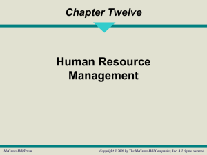 Chapter Twelve Human Resource Management