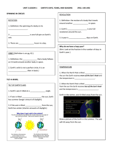 UNIT 3 LESSON 1 EARTH'S DAYS, YEARS, AND SEASONS (PGS