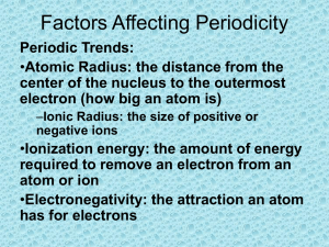 Periodic Trends and Factors Affecting Periodicity