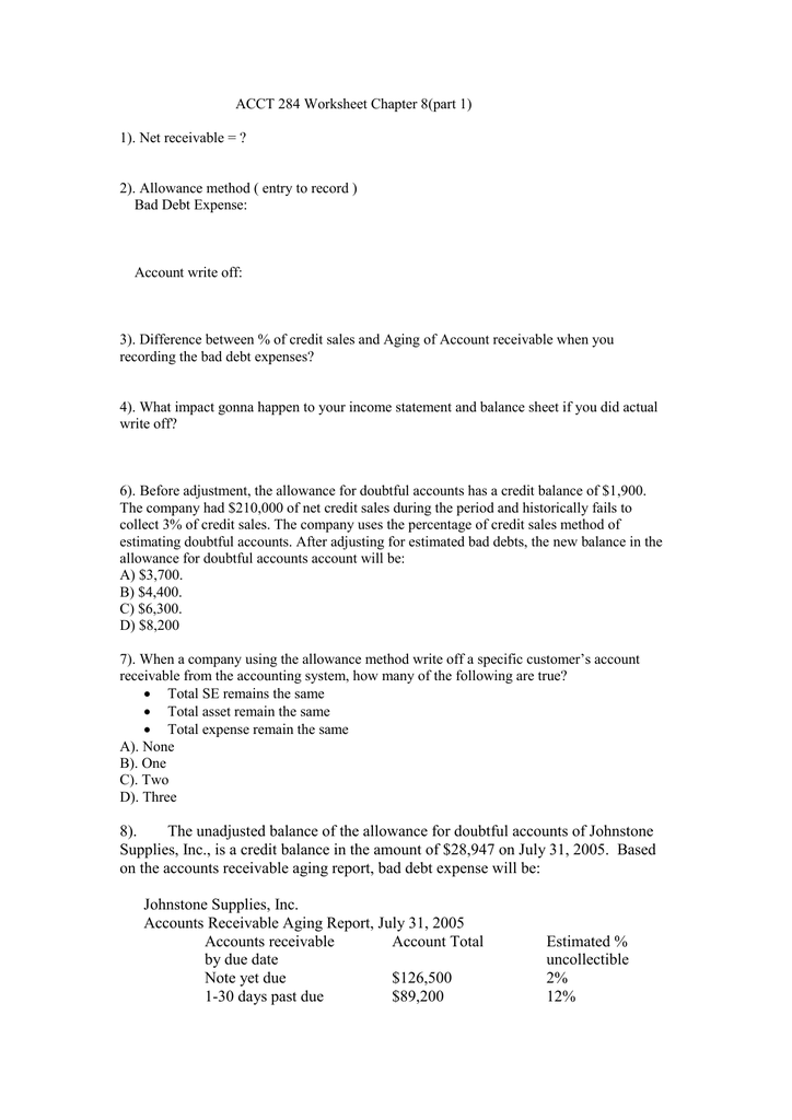 ACCT 284 Worksheet Chapter 8(part 1)