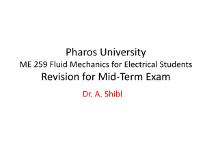 CIC MECH 281 Fluid Mechanics Revision for Mid