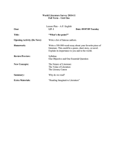 World Literature Survey 2010-11 Fall Term – Unit One Lesson Plan