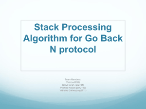 Stack Processing Algorithm for Go Back N protocol