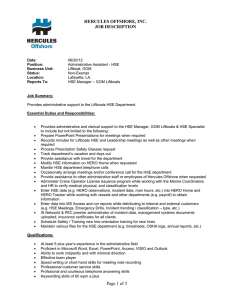 HERCULES OFFSHORE, INC. JOB DESCRIPTION Date: 06/20/12