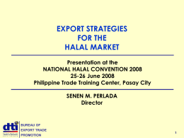 Export stages for the halal market