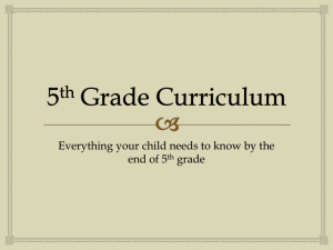 5th Grade Curriculum