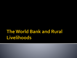 The World Bank and Rural Livelihoods
