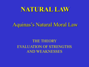 Natural Law and PURPOSE