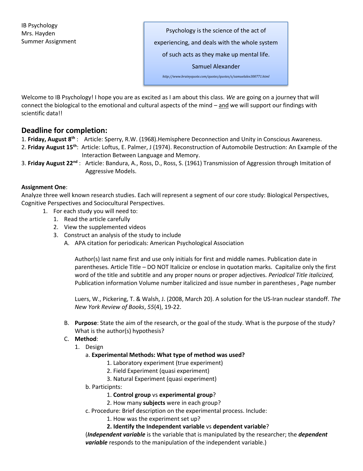 IB Psychology Summer Assignemnt 2014