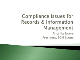 Compliance Issues for Records & Information Management