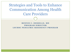Strategies and Tools to Enchance Communication Among Health