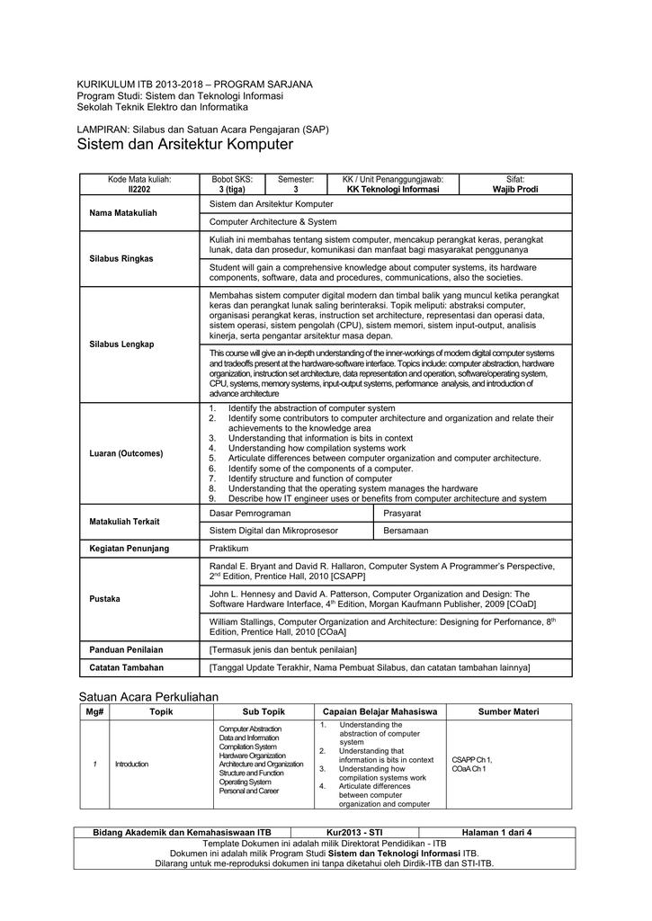 KURIKULUM ITB 2013-2018 – PROGRAM SARJANA Program Studi