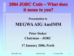 differences between 1999 and 2004 JORC Codes