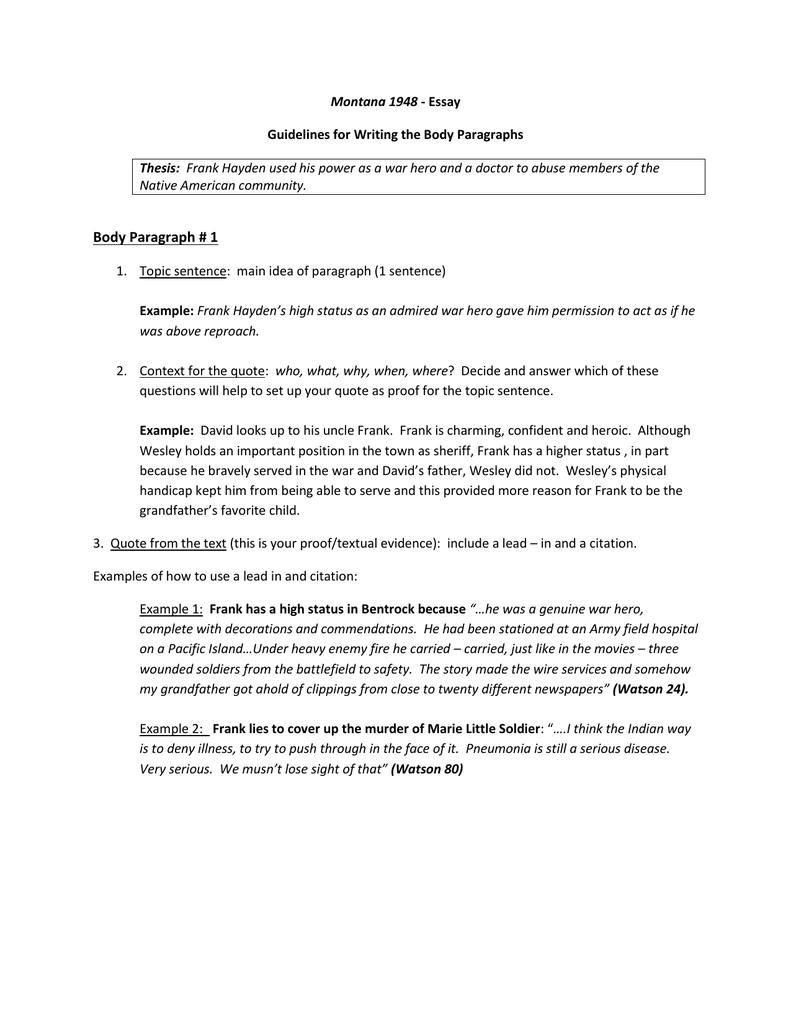 montana essay guidelines for writing the body paragraphs