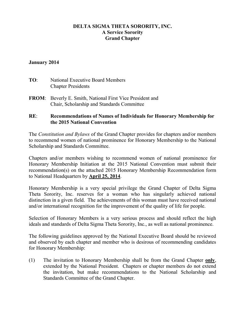delta sigma theta recommendation letter