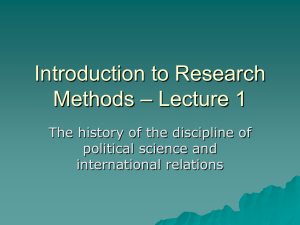 Introduction to Research Methods – Lecture 1