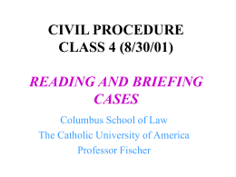 CIVIL PROCEDURE CLASS 3 (8/28/00) STAGES AND ESSENTIAL
