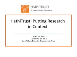 HathiTrust: Putting Research in Context