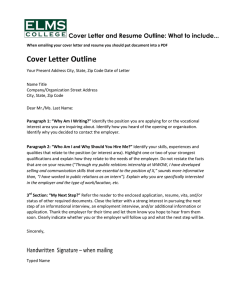 Cover Letter and Resume Outline: What to include
