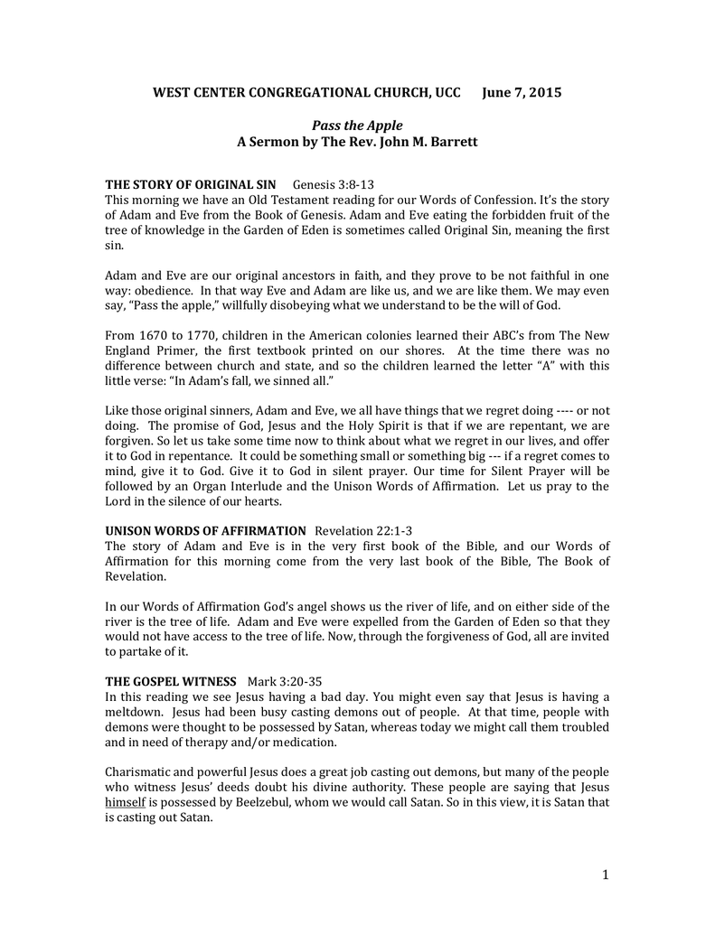 June 7, 2015 Pass the Apple A Sermon by The Rev  John M  Barrett