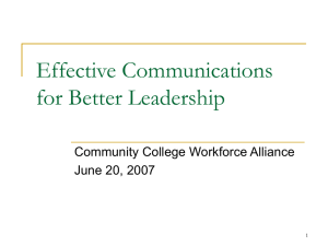 Effective Communications for Better Leadership