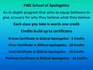 Slide 1 - FWC Apologetic Ministries