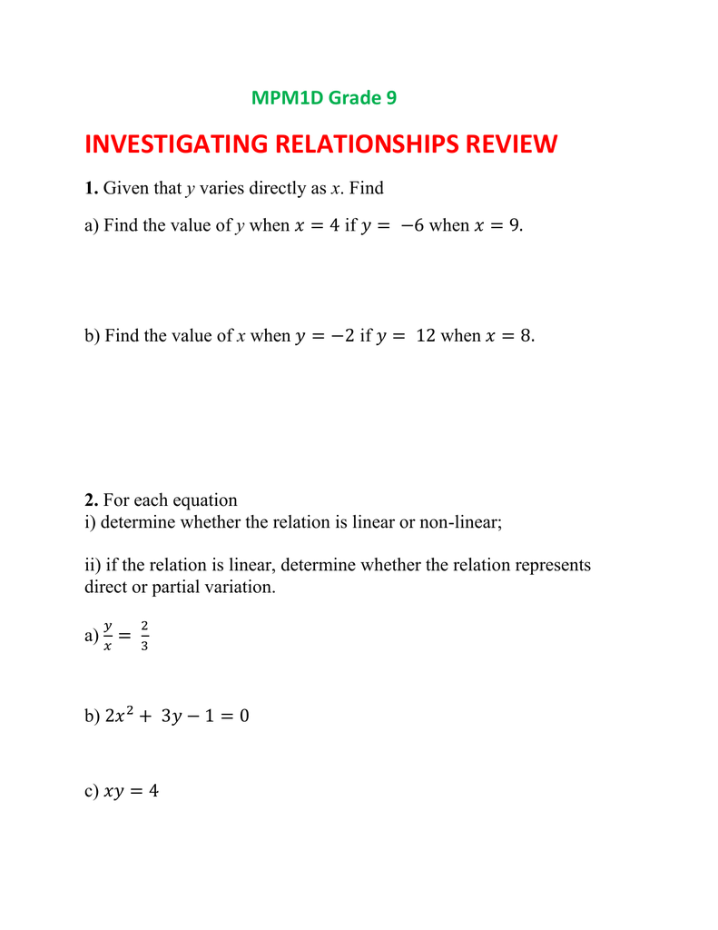 MPM1D Grade 9 Investigating Relationships Review 1