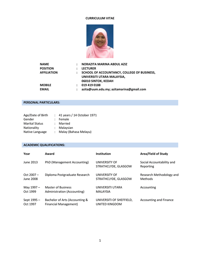 click here to full cv of norazita aziz