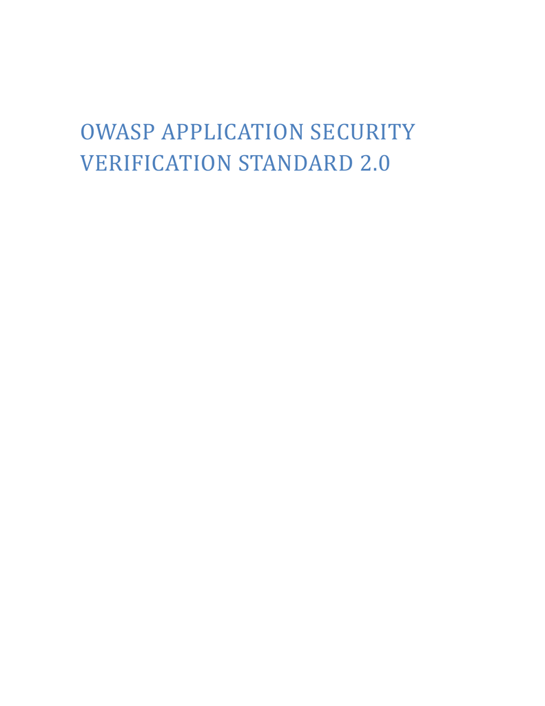 Application Security Verification Levels