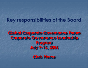 The Role of Company Diurector and the Board