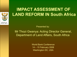 LAND & AGRARIAN REFORM SOUTH AFRICA (LARSA