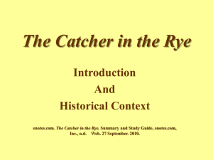 Catcher Intro Historical Context