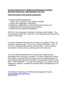 Summer Assignments for IB Business Management students 2012