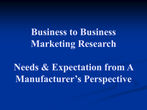 Business to Business Marketing Research Needs & Expectation