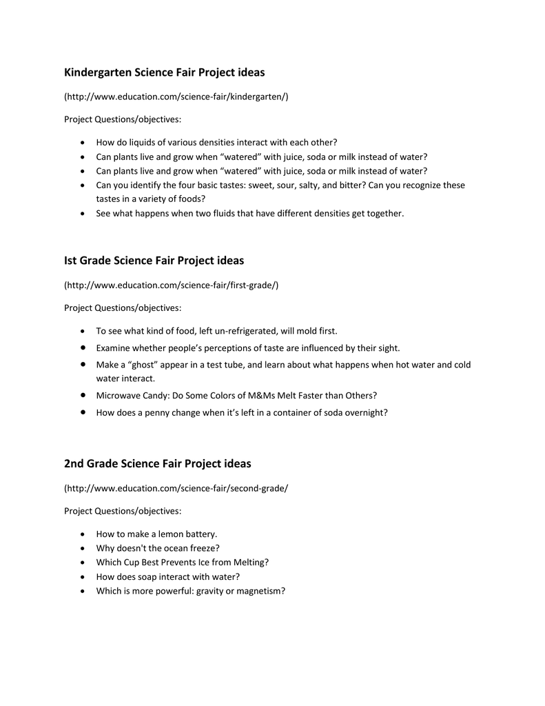 helpful ideas for a science fair project, by grade level