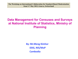 Data Management for Censuses and Surveys at National Institute of