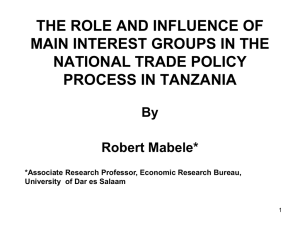 THE ROLE AND INFLUENCE OF MAIN INTEREST GROUPS IN