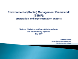 Environmental Management Framework (EMF): preparation and