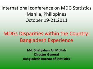 MDG disparities within the country (Bangladesh)
