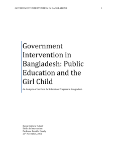 Government Intervention in Bangladesh: Public Education and the