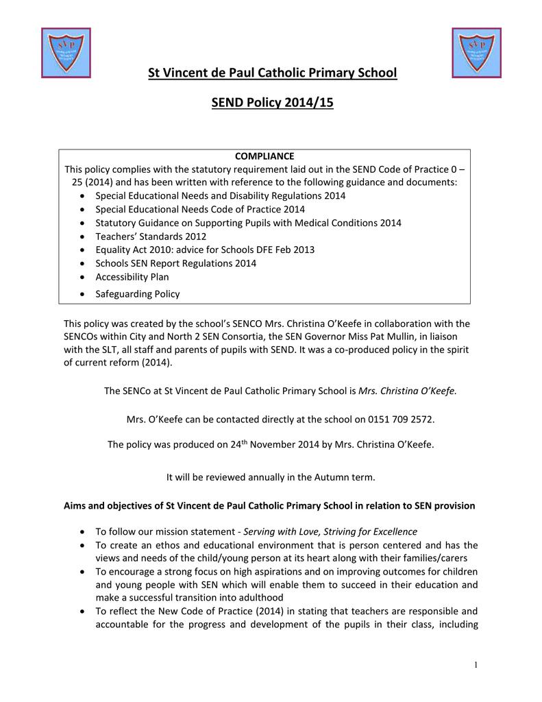 SEND policy 2014 - St Vincent de Paul