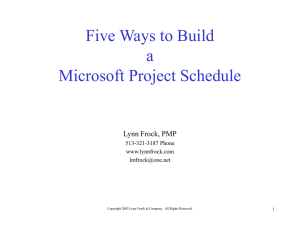 Microsoft Project 98 Schedule Analysis / Troubleshooting