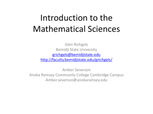 Introduction to the Mathematical Sciences - BSU Faculty