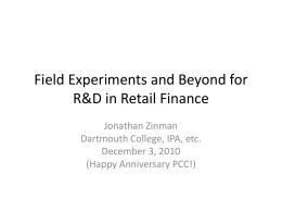 Field Experiments for Research and Development in Retail Finance
