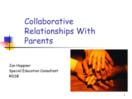 Collaborative Relationships with Parents