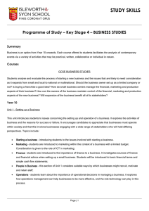 Programme of Study – Key Stage 4 – BUSINESS STUDIES