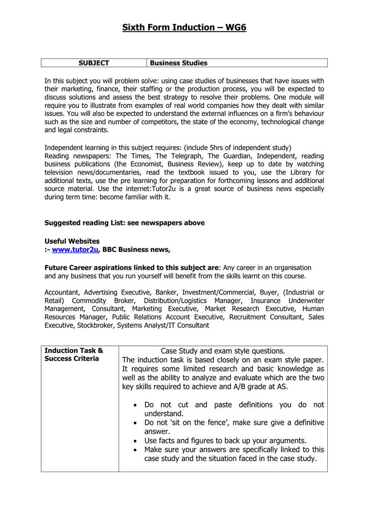 Business Studies Task 1 - Wilmington Grammars' Sixth Form  WG6