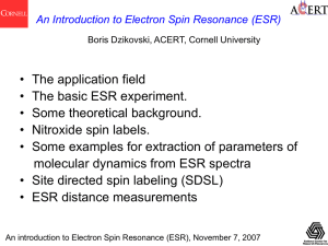 Pulsed ESR and Distance Measurements - acert