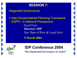 A Protocol on Intergovernmental Planning
