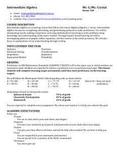 Intermediate Algebra Syllabus 2015-2016